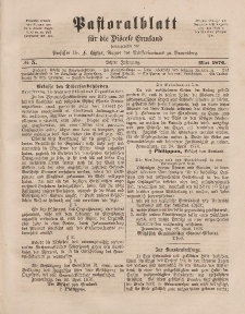 Pastoralblatt für die Diözese Ermland, 8.Jahrgang, Mai 1876, Nr 5.