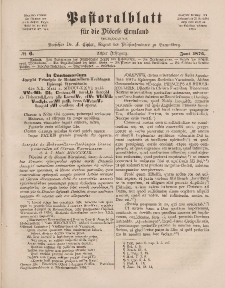 Pastoralblatt für die Diözese Ermland, 8.Jahrgang, Juni 1876, Nr 6.