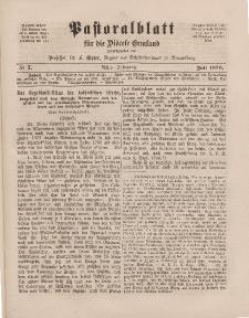 Pastoralblatt für die Diözese Ermland, 8.Jahrgang, Juli 1876, Nr 7.