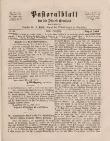 Pastoralblatt für die Diözese Ermland, 8.Jahrgang, August 1876, Nr 8.