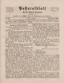 Pastoralblatt für die Diözese Ermland, 8.Jahrgang, November 1876, Nr 11.