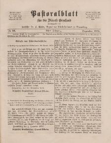 Pastoralblatt für die Diözese Ermland, 8.Jahrgang, Dezember 1876, Nr 12.