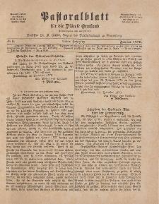 Pastoralblatt für die Diözese Ermland, 11.Jahrgang, 1. Januar 1879. Nr 1