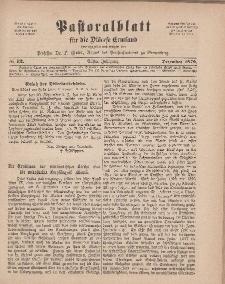 Pastoralblatt für die Diözese Ermland, 11.Jahrgang, 1. Dezember 1879. Nr 12