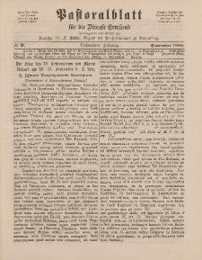 Pastoralblatt für die Diözese Ermland, 16.Jahrgang, 1. September 1884. Nr 9