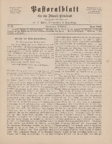 Pastoralblatt für die Diözese Ermland, 19.Jahrgang, 1. Juni 1887. Nr 6