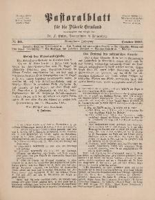 Pastoralblatt für die Diözese Ermland, 19.Jahrgang, 1. Oktober 1887. Nr 10