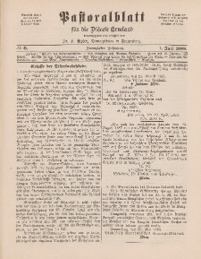 Pastoralblatt für die Diözese Ermland, 20.Jahrgang, 1. Juni 1888. Nr 6