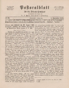 Pastoralblatt für die Diözese Ermland, 20.Jahrgang, 1. November 1888. Nr 11