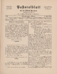 Pastoralblatt für die Diözese Ermland, 28.Jahrgang, 1. Juni 1896, Nr 6.