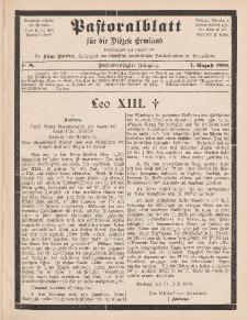 Pastoralblatt für die Diözese Ermland, 35.Jahrgang, 1. August 1903, Nr 8.