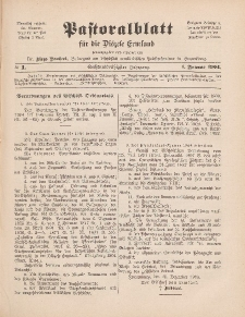 Pastoralblatt für die Diözese Ermland, 36.Jahrgang, 1. Januar 1904, Nr 1.
