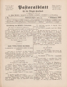 Pastoralblatt für die Diözese Ermland, 36.Jahrgang, 1. September 1904, Nr 9.