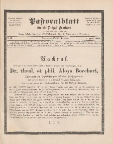 Pastoralblatt für die Diözese Ermland, 37.Jahrgang, 1. Juni 1905, Nr 6.