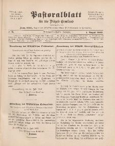 Pastoralblatt für die Diözese Ermland, 37.Jahrgang, 1. August 1905, Nr 8.