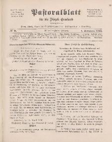 Pastoralblatt für die Diözese Ermland, 38.Jahrgang, 1. September 1906, Nr 9.