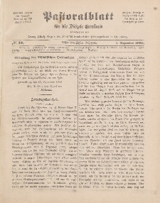 Pastoralblatt für die Diözese Ermland, 38.Jahrgang, 1. Dezember 1906, Nr 12.