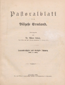 Pastoralblatt für die Diözese Ermland, 39.Jahrgang, 1. Januar 1907, Nr 1.