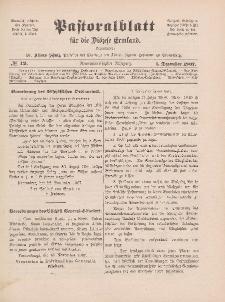 Pastoralblatt für die Diözese Ermland, 39.Jahrgang, 1. Dezember 1907, Nr 12.