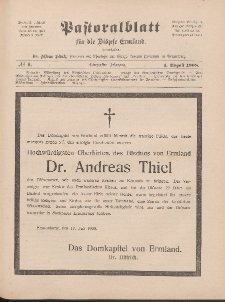 Pastoralblatt für die Diözese Ermland, 40.Jahrgang, 1. August 1908, Nr 8.