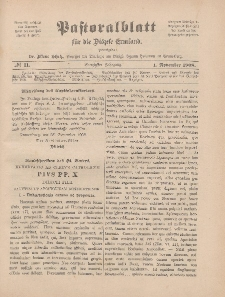 Pastoralblatt für die Diözese Ermland, 40.Jahrgang, 1. November 1908, Nr 11.