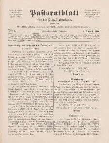 Pastoralblatt für die Diözese Ermland, 42.Jahrgang, 1. August 1910, Nr 8.