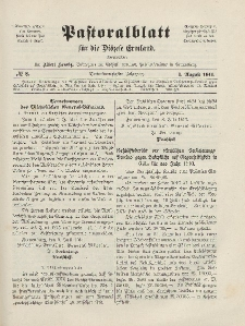 Pastoralblatt für die Diözese Ermland, 43.Jahrgang, 1. August 1911. Nr 8