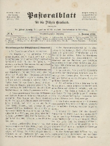 Pastoralblatt für die Diözese Ermland, 44.Jahrgang, 1. Januar 1912. Nr 1