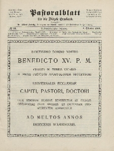 Pastoralblatt für die Diözese Ermland, 46.Jahrgang, 1. Oktober 1914. Nr 10