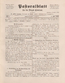 Pastoralblatt für die Diözese Ermland, 48.Jahrgang, 1. Juli 1916. Nr 7