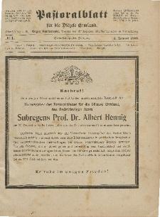 Pastoralblatt für die Diözese Ermland, 53.Jahrgang, 1. Januar 1921, Nr 1.