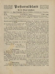 Pastoralblatt für die Diözese Ermland, 53.Jahrgang, 1. April 1921, Nr 4.