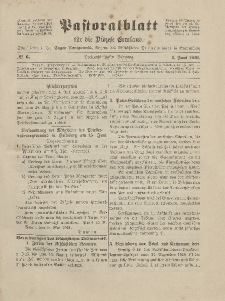 Pastoralblatt für die Diözese Ermland, 53.Jahrgang, 1. Juni 1921, Nr 6.