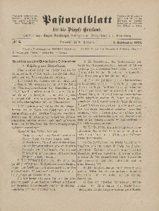 Pastoralblatt für die Diözese Ermland, 53.Jahrgang, 1. September 1921, Nr 9.
