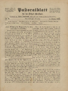 Pastoralblatt für die Diözese Ermland, 54.Jahrgang, 1. Oktober 1922, Nr 10.