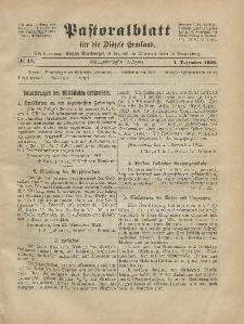 Pastoralblatt für die Diözese Ermland, 54.Jahrgang, 1. Dezember 1922, Nr 12.