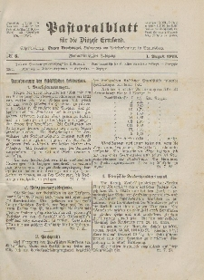 Pastoralblatt für die Diözese Ermland, 55.Jahrgang, 1. August 1923, Nr 8.