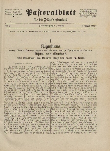 Pastoralblatt für die Diözese Ermland, 56.Jahrgang, 1. März 1924, Nr 3.