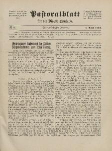 Pastoralblatt für die Diözese Ermland, 56.Jahrgang, 1. April 1924, Nr 4.