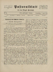 Pastoralblatt für die Diözese Ermland, 57.Jahrgang, 1. April 1925, Nr 4.