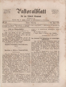 Pastoralblatt für die Diözese Ermland, 5.Jahrgang, 16. Juni 1873, Nr 12.