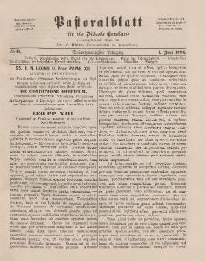 Pastoralblatt für die Diözese Ermland, 23.Jahrgang, 1. Juni 1891. Nr 6
