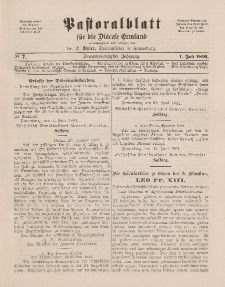 Pastoralblatt für die Diözese Ermland, 23.Jahrgang, 1. Juli 1891. Nr 7