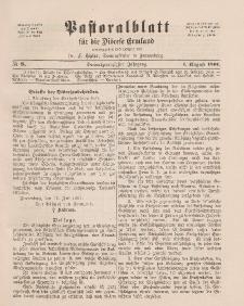 Pastoralblatt für die Diözese Ermland, 23.Jahrgang, 1. August 1891. Nr 8