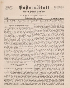 Pastoralblatt für die Diözese Ermland, 23.Jahrgang, 1. November 1891. Nr 11