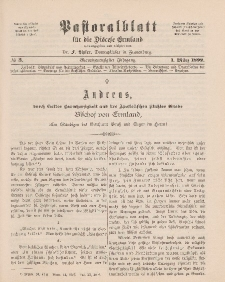Pastoralblatt für die Diözese Ermland, 24.Jahrgang, 1. März 1892. Nr 3