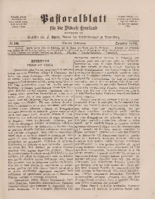 Pastoralblatt für die Diözese Ermland, 9.Jahrgang, 1. Oktober 1877, Nr 10.