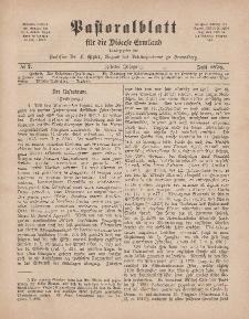 Pastoralblatt für die Diözese Ermland, 10.Jahrgang, 1. Juli 1878, Nr 7.