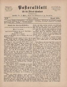 Pastoralblatt für die Diözese Ermland, 10.Jahrgang, 1. August 1878, Nr 8.