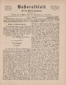 Pastoralblatt für die Diözese Ermland, 10.Jahrgang, 1. September 1878, Nr 9.